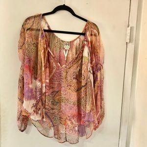 Haute Hippie Paisley Print Silk Blouse